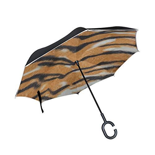 Silla de sombrilla Plegable Invertida de Doble Capa Piel de Animal Rayas de Tigre Negro Paraguas invertido de Doble Capa Paraguas invertido ventilado Proteccion UV a Prueba de Viento para la Lluvia