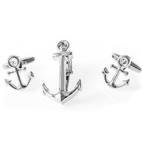 (MRCUFF Anchor Cufflinks Pair of Cufflinks & Tie Bar Clip with Presentation Gift Box and Polishing Cloth)