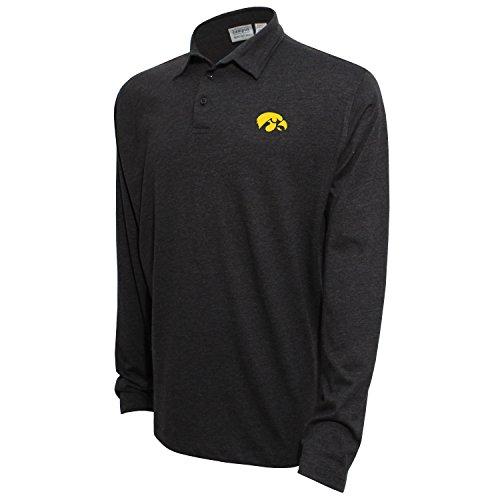 NCAA Iowa Hawkeyes Men's Campus Specialties Long Sleeve Polo Shirt, Heather Black, X-Large