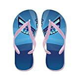Truly Teague Kid's Contemporary Abstract Stained Glass Angel Pink Rubber Flip Flops Sandals 4.5-7