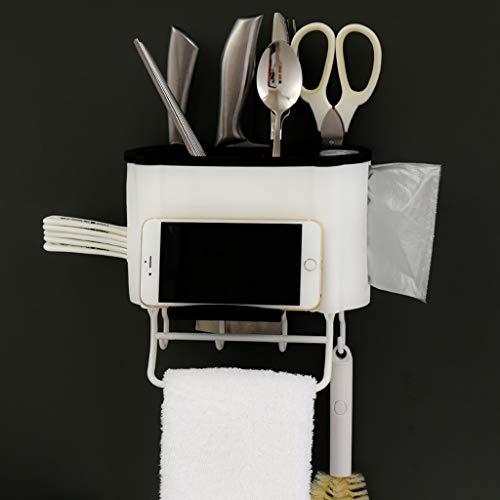 Quaanti Kitchen Cutlery Storage Organizer Caddy Bin,Wall-Mounted Utensil Holder,Silverware Drainer,Bathroom Cabinet or Pantry Rack Shelves Storage Box Basket Organizer with Towel Holder Hook (Black)
