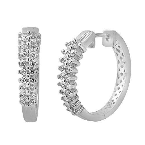 Boucles d'oreilles diamants huggies 1/2 ct tw rondes or blanc 9K