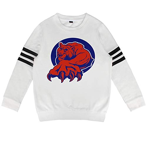 White Chicago Bears Socks - Daylight Toddler White Crewneck Cotton Long Sleeve Sweatshirt Chicago_Funny_Cubs_Bear Hooded Sweatshirt for Boys and Girls