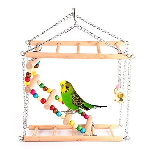(Ladder Parrot - Wooden Bird Ladder Parrots Toys Swing Exercise Rainbow Hamster Parrot Parakeet Toy - Bulk Sneakers Ladder Medium Small Parts Prime Bells Parrot Under Sale Pleasures Ball)