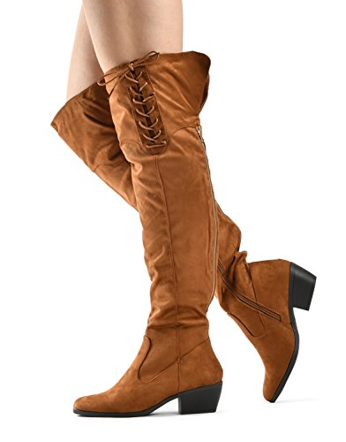 Over Low Caroline Knee toe the High Women's Chunky Boots By Up LUSTHAVE Lace Tall Almond Tan Heel Stacked qpCXxwd
