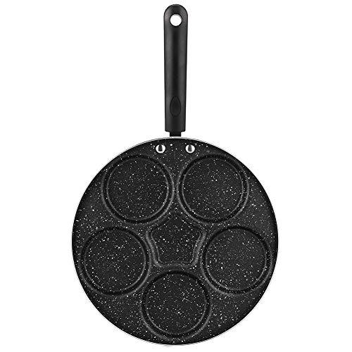 Antiaanbakpan met 5 gaten, aluminiumlegering, pan met handvat, platte bodemplaat, maifan pan voor pizza, hamburgers…