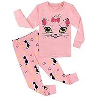 A&J DESIGN Kids Girls Cat Pajamas 2 Piece Sets (5, Cat)