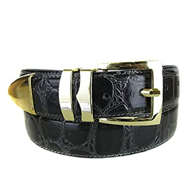 Charcoal Bonded Alligator Skin High Quality Fashion Dress Belt