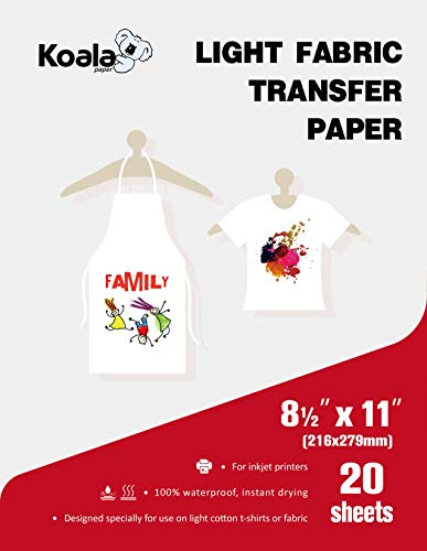 Koala Light T-shirt Transfer Paper for Light Color Fabric 8.5X11 Inches 20 Sheets Compatible with Inkjet Printer
