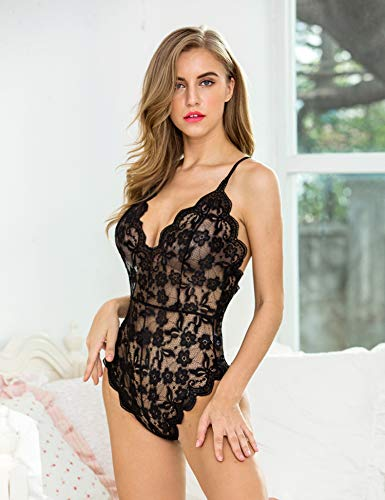 2fca6da260 Pintimi Women Slutty Lingerie V Lace Teddy Bodysuit One Piece Teddy Lingerie
