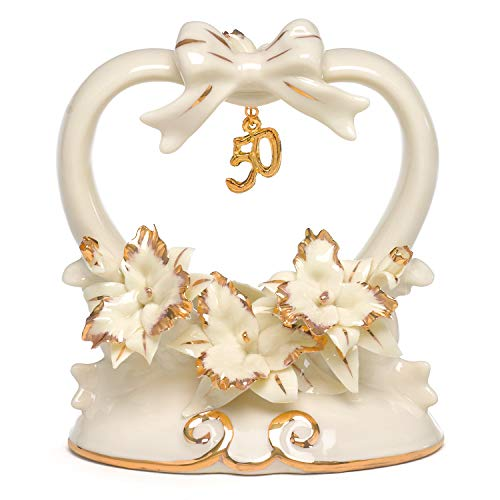 Hortense B. Hewitt Wedding Accessories 50th Anniversary Porcelain Cake Top, 4.5-Inches Tall ()