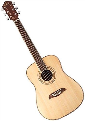 Left Hand Oscar Schmidt 1/2 Size Acoustic Guitar, Natural, Lefty, OGHSLH