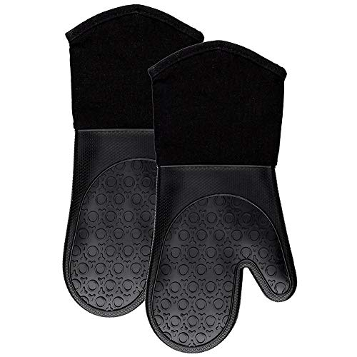 Silicone Oven Mitts Heat Resistant 500 Degrees Oven Mitt with Cotton Liner Non-Slip Kitchen Oven Gloves for BBQ Cooking Baking Microwave