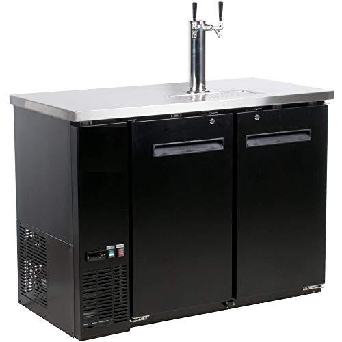 Alpha Chef Equipment Beer Dispenser/Kegerator, 48-Inch Wide, Single Tower (2-Taps), Double Door Refrigerated (Draft Beer Dispenser Kegerator)