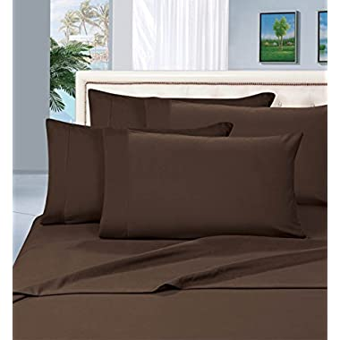 #1 Rated Best Seller Luxurious Bed Sheets Set on Amazon! Elegant Comfort® 1500 Thread Count Wrinkle,Fade and Stain Resistant 4-Piece Bed Sheet set, Deep Pocket, HypoAllergenic - Queen Chocolate Brown