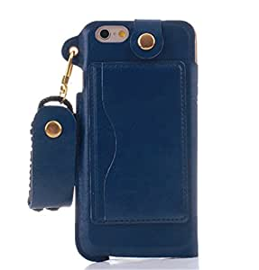 """Turpro Stand Case with Strap for iPhone 6 Plus (5.5), KS Slim Fit Business Style PU Leather Back Cover Pouch Case with Stand, Credit Card Holders and Neck Strap Lanyard for iPhone 6 Plus (5.5"""""""" inch) (Dark Blue)"""