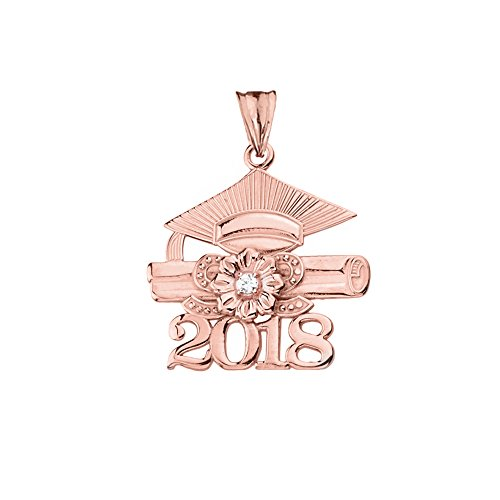 Dazzling 14k Rose Gold Diamond Class of 2018 Graduation Charm Pendant ()