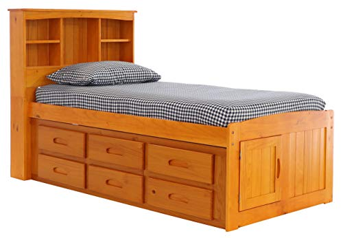 (Discovery World Furniture Bookcase Captains Bed with 12 Drawers, Twin, Honey)