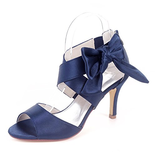 Creativesugar Women's Navy Blue Bow Sandals Satin Dress Shoes Wedding Heels (9) ()