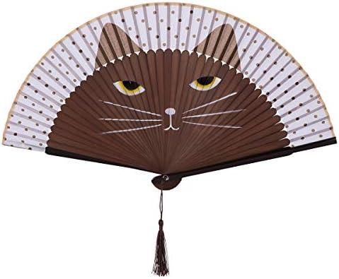 Rosenice - Abanico de mano para mujer, diseño de gato, seda y bambú, color blanco: Amazon.es: Hogar
