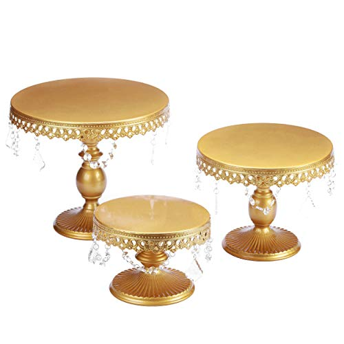 VILAVITA 3-Set Antique Cake Stand Round Cupcake Stands Metal Dessert Display with Pendants and Beads, Gold (Fancy Cake Stand)