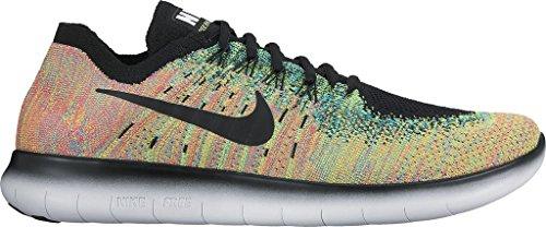 NIKE Mens Free RN Flyknit 2017 Running Shoe (10 D(M) US, Black/Black-Blue (Nike Shox Running Shoes)