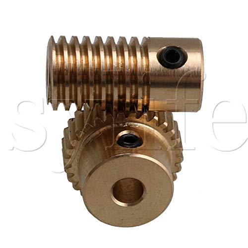 Ochoos 0.5 Modulus Brass Metal 3mm Hole Gear Shaft and 30 Teeth Worm Wheel Worm Gear Set