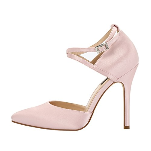 Dress Blush Wedding Prom Evening Women Strap High Pumps Satin Shoes ERIJUNOR Heel Ankle RpYcg1