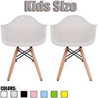 2xhome - Set of Two (2) - Grey - Kids Size Eames Armchairs Eames Chairs Green Seat Natural Wood Wooden Legs Eiffel Childrens Room Chairs Molded Plastic Seat Dowel Leg