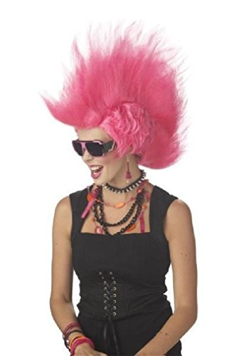 Fancy Wild Rocker Pink Mohawk Adult Costume Wig (Wild Zebra Adult Womens Costume)