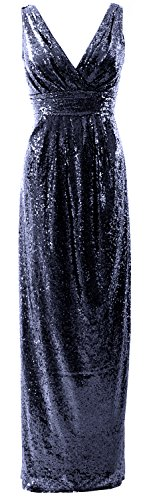 Gorgeous Formal Dunkelmarine Wedding Bridesmaid Neck V Sequin Dress Long Party MACloth Gown zqPd7z