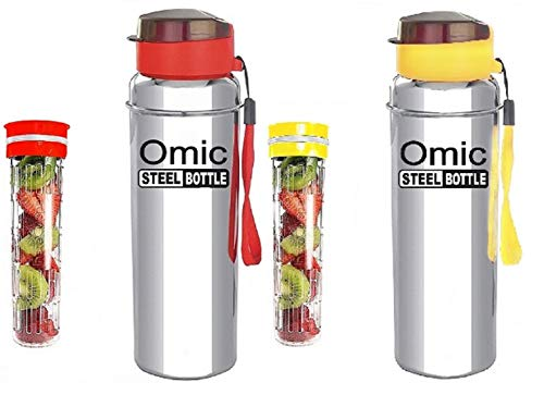 Omic Combo Stainless Steel Fridge Water Bottle with Tritan Fruit Infuser Unit, Stainless Steel Bottle with Infusion Unit (Color May Vary) (Red+Yellow, 850ml)