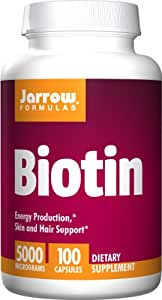 Jarrow Formulas Biotin 5000mcg, Energy Production, Skin and Hair Support, 100 Caps