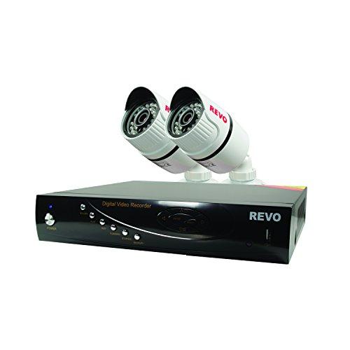 America  T-HD 4-CH 5G DVR Surveillance System with 2 T-HD 1080p Bullet Cameras (White) - Revo RT41B2G-5G