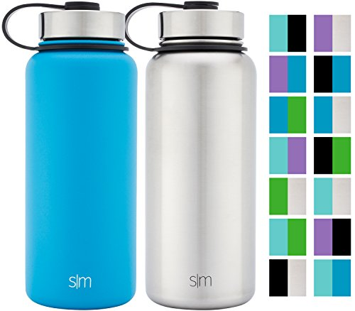 Simple Modern 32oz Summit Water Bottle 2 Pack - Two Vacuum Insulated Stainless Steel Wide Mouth Hydro Travel Mugs - Powder Coated Double-Walled Flask - Sky Blue/Stainless Steel