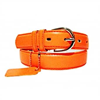 Genuine Leather Women's Dress Belt Neon Orange Large