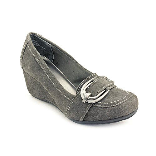 Womens Dress Shoes Classic Pump (Kelly and Katie Sandro Women's Regular Suede Classic Slip On Chunky Heel Dress Shoes (6, Gray))