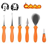 Secura Pumpkin Carving Tools - Professional Stainless 6 pc Carving Tools For Halloween Jack-O-Lanterns Pumpkin Party Decorations