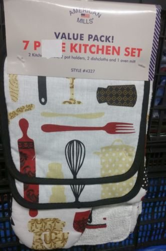 The Pecan Man Home Collection BAKING TOOLS Everyday Kitchen Set of 7 2 POT HOLDERS, 1 OVEN MITT,2 DISHCLOTHS & 2 TOWELS