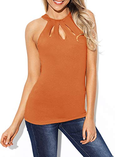 - BLENCOT Women's Casual Sleeveless Shirts Halter Sexy Cut Out Keyhole Back Solid Tank Tops Orange L