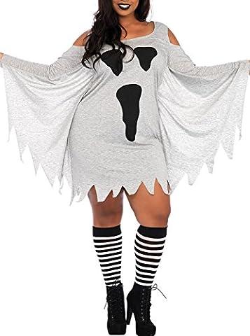 Women Adult Party Fancy Halloween Costume Ghost Print Jersey Plus Size Dress - Plus Size Print Jersey