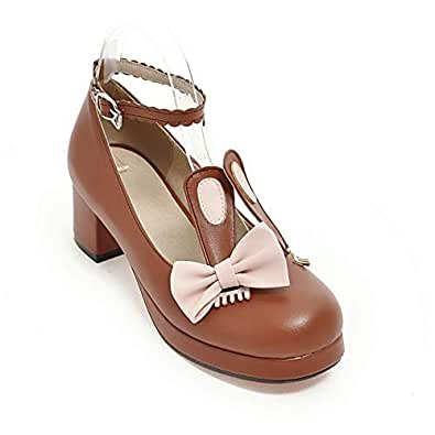 BalaMasa Womens Assorted Colors Bows Travel Brown Urethane Pumps Shoes APL10587-4 B(M) US