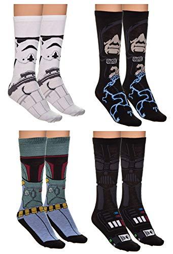 Holiday 4-Pack Jacquard Knit Unisex Crew Socks Gift Sets (Star Wars-Dark Side) -