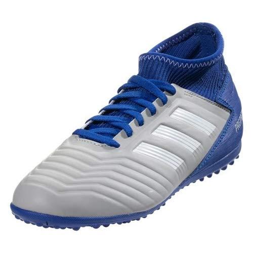 5372d0871 adidas Unisex Predator 19.3 Turf Soccer Shoe Grey White Bold Blue 4.5 M US  Big Kid