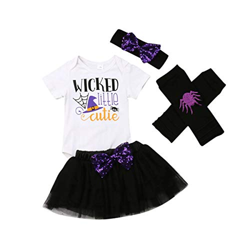 4 PCS Infant Baby Girl Halloween Costume Tutu Dress Witch Rompers+Leg Warmers+Headband Outfits Clothes Set(Wicked Cutie, 3-6 Months) -
