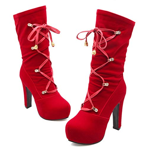 Rouge Femmes Bottes Chaussures Talon Plateforme Taoffen Haut qHCxzH