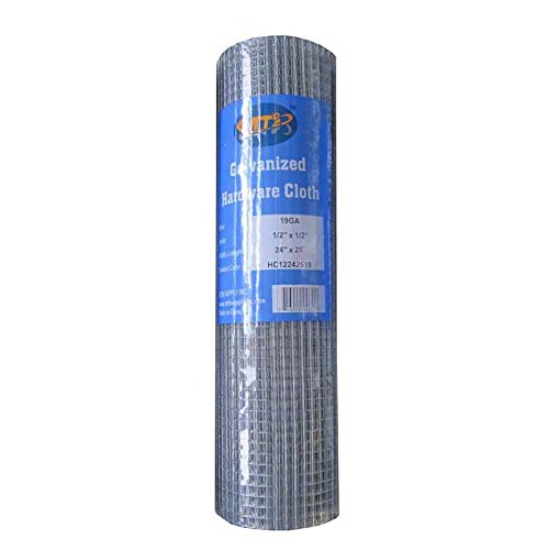 MTB Galvanized Hardware Cloth 24 Inch x 25 Foot -1/2 Inch x 1/2 Inch 19GA (Also Sold in 50' Length,36