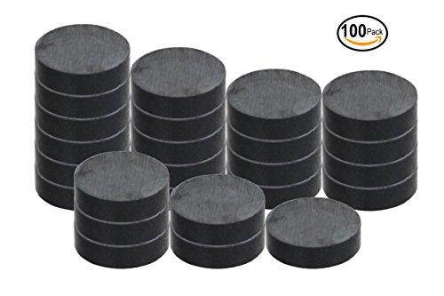 RAM-PRO 100-Piece Powerful Magnetic Full Round Ferrite Solid Magnet Discs (3/4