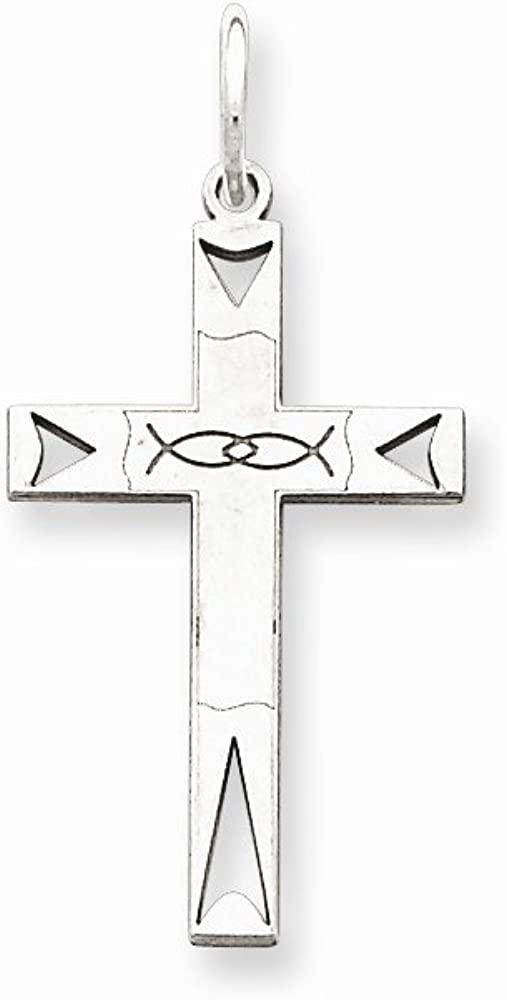 Sterling Silver Laser Designed Cross Pendant Best Quality Free Gift Box