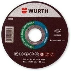 Cutting Disc Grinder Reinforced wurth 115 x 1.6 Iron Stainless Steel Iron